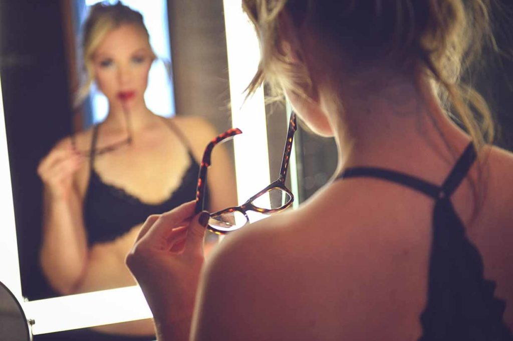 Her with Glasses | Calgary Boudoir Photographer | SLIVER Photography