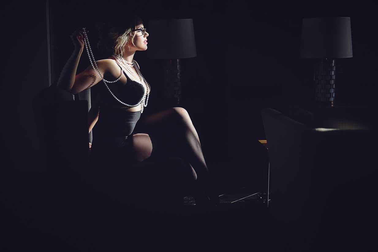 Her with Pearls | Calgary Boudoir Photographer | SLIVER Photography