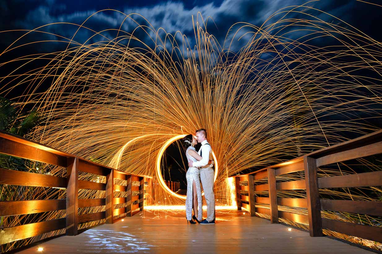 Mexico Fire Wheel | Destination Wedding Photographer | SLIVER Photography