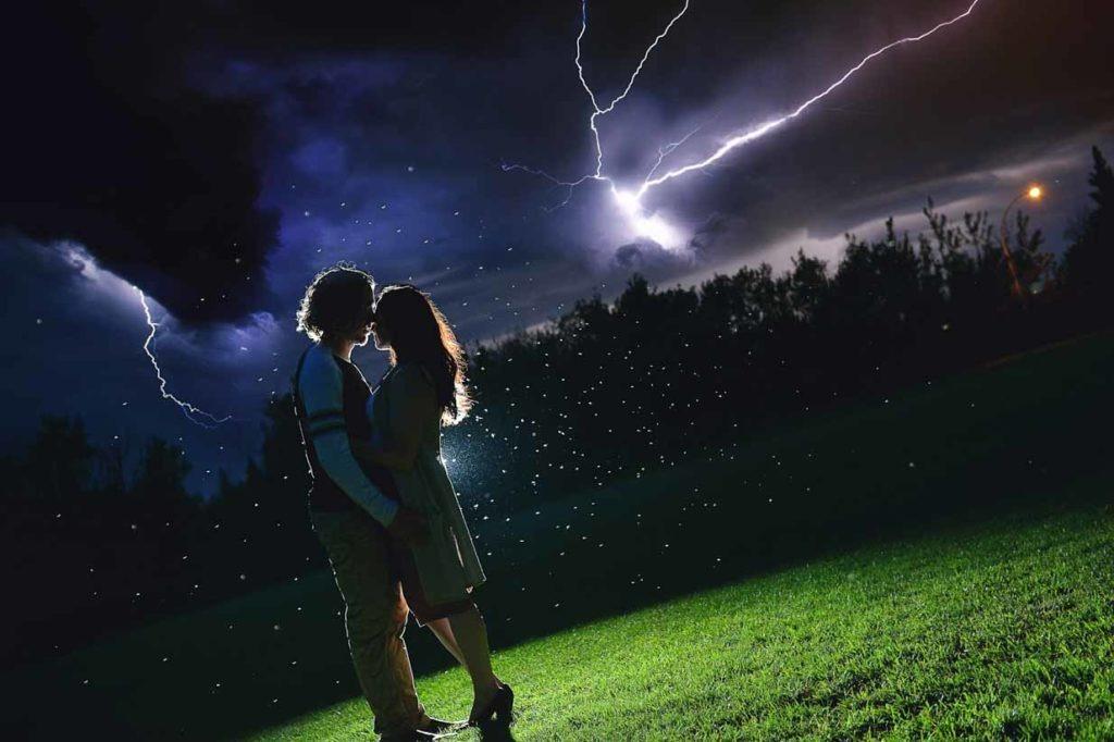 Night Lightning Storm Kiss | Destination Wedding Photographer | SLIVER Photography