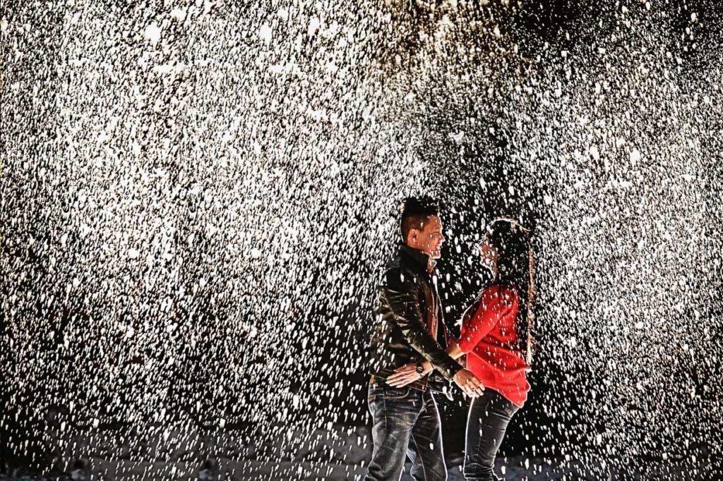 Snow falling Engagement | Calgary Engagement Photographer | SLIVER Photography