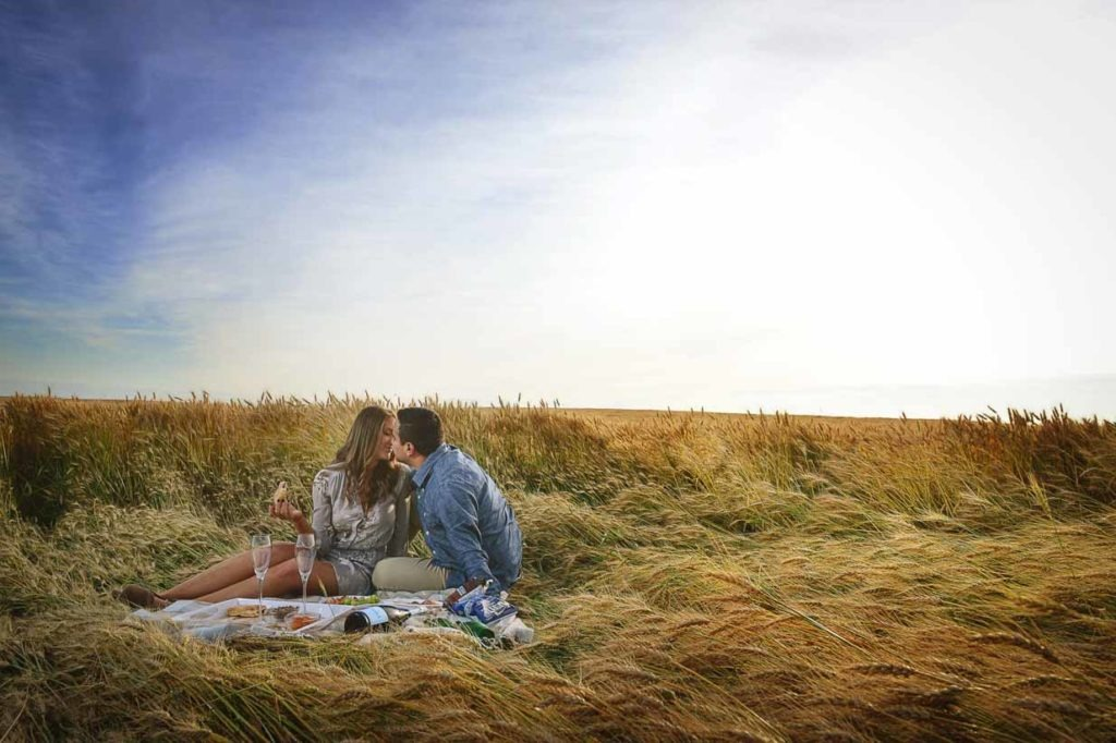 Wheat Field Picnic | Calgary Engagement Photographer | SLIVER Photography