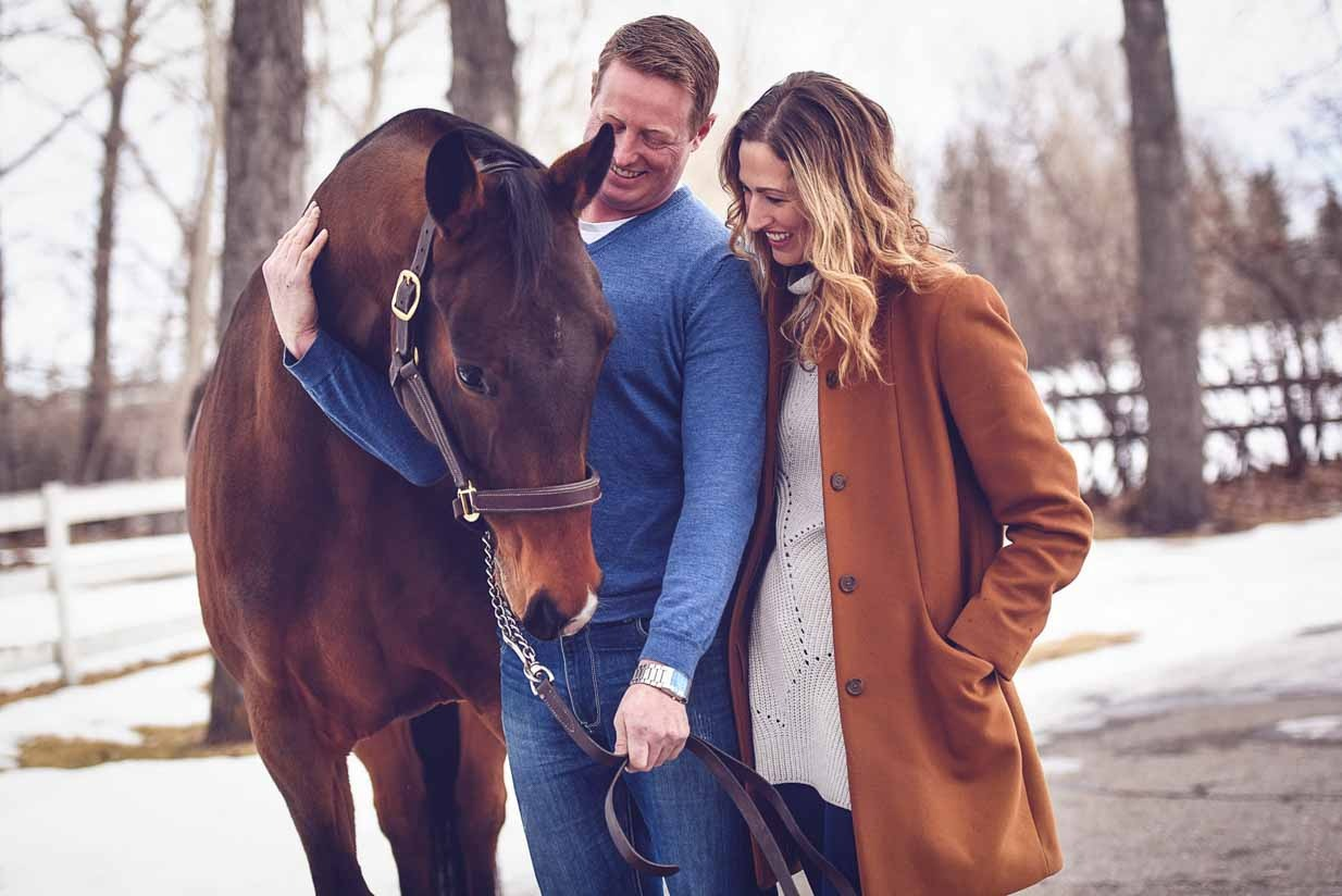 Horse and Couple | Calgary Engagement Photographer | SLIVER Photography