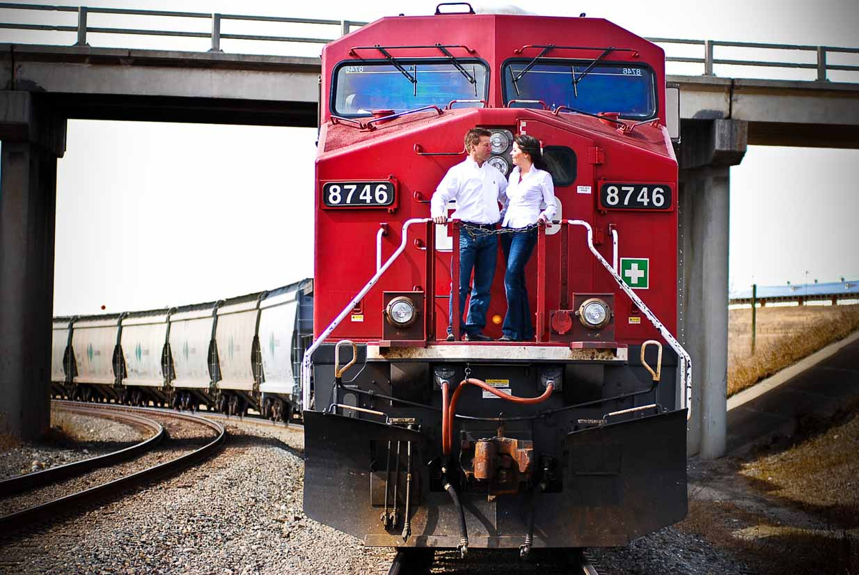 Couple on a Train | Calgary Engagement Photographer | SLIVER Photography