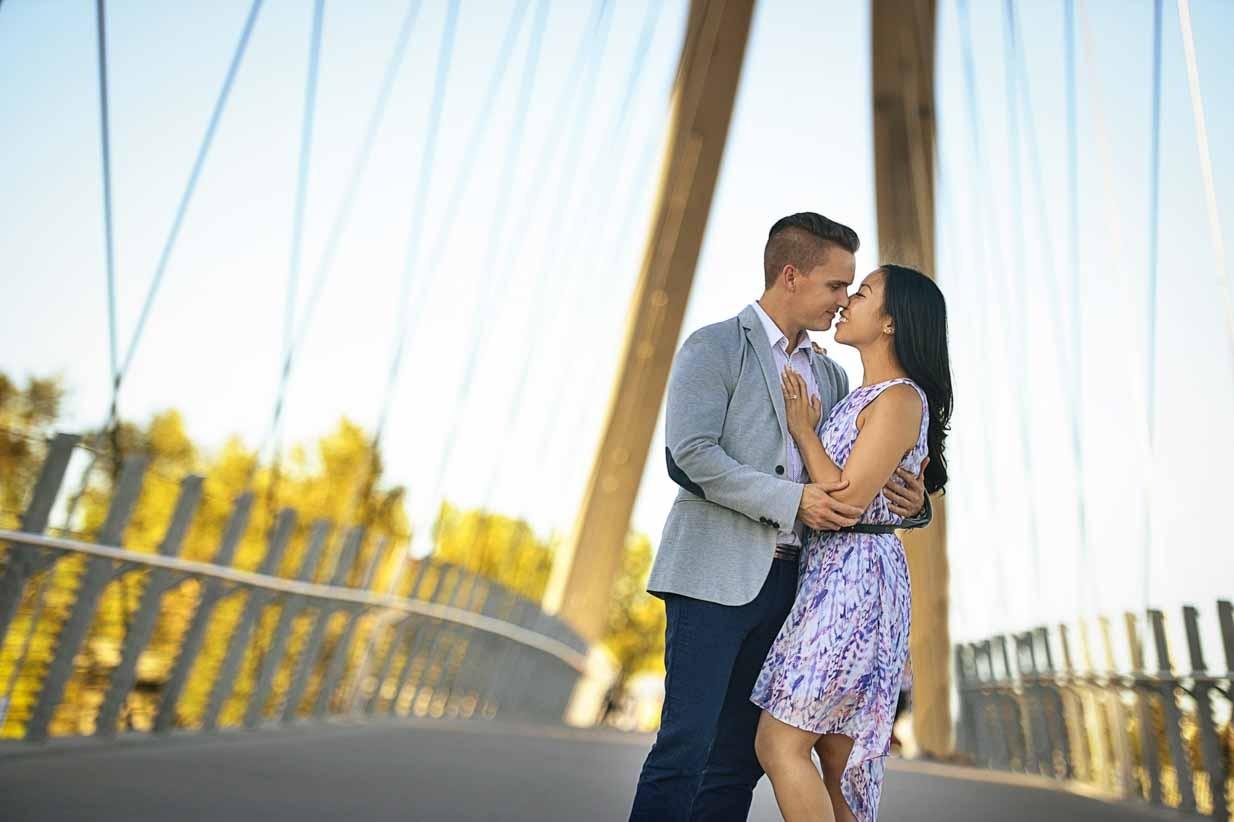 Couple on a Bridge | Calgary Engagement Photographer | SLIVER Photography