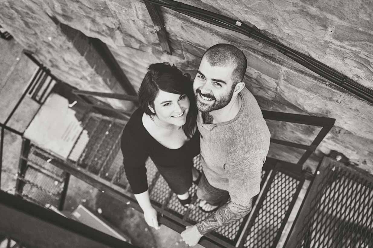 Couple on the Stairs | Calgary Engagement Photographer | SLIVER Photography