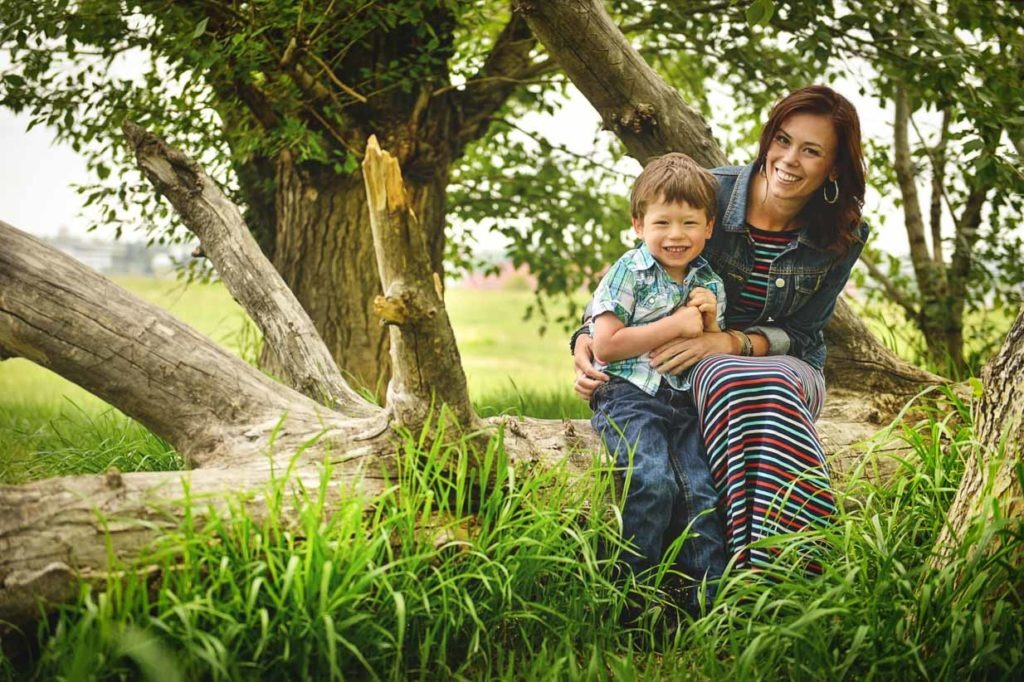 Son and Mom on a tree | Calgary Family Photographer | SLIVER Photography