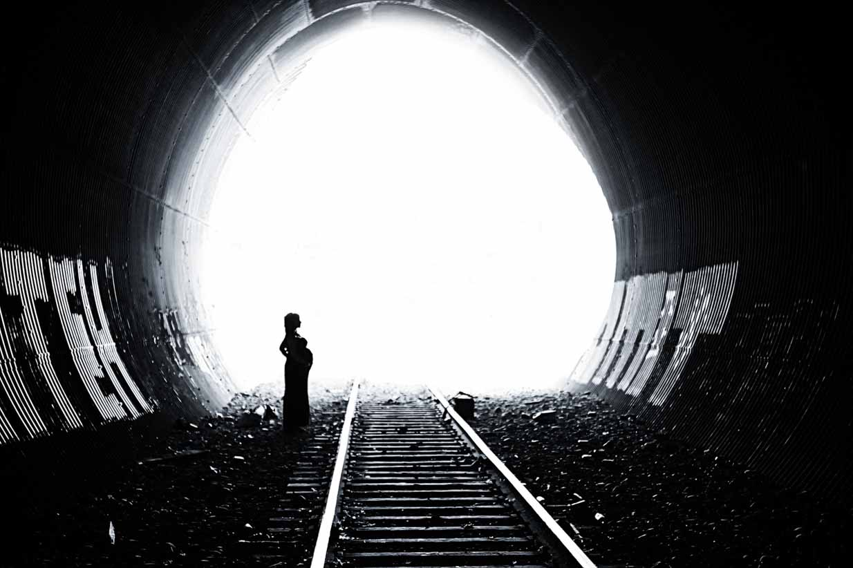 Black and White Train tunnel | Calgary Maternity Photographer | SLIVER Photography