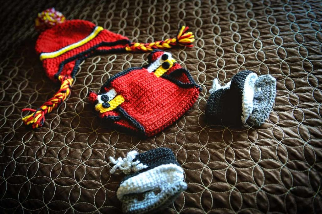 Calgary Flames Jersey | Calgary Newborn Photographer | SLIVER Photography