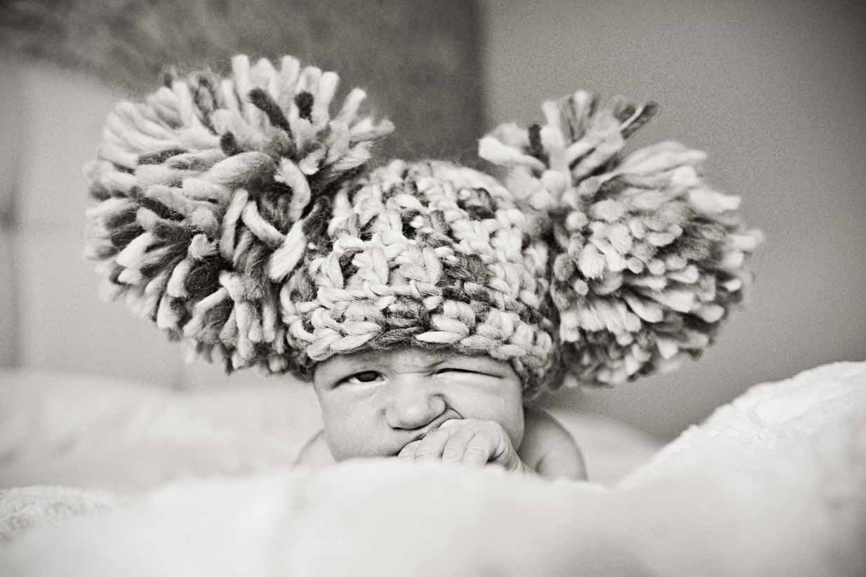 Newborn winking | Calgary Newborn Photographer | SLIVER Photography