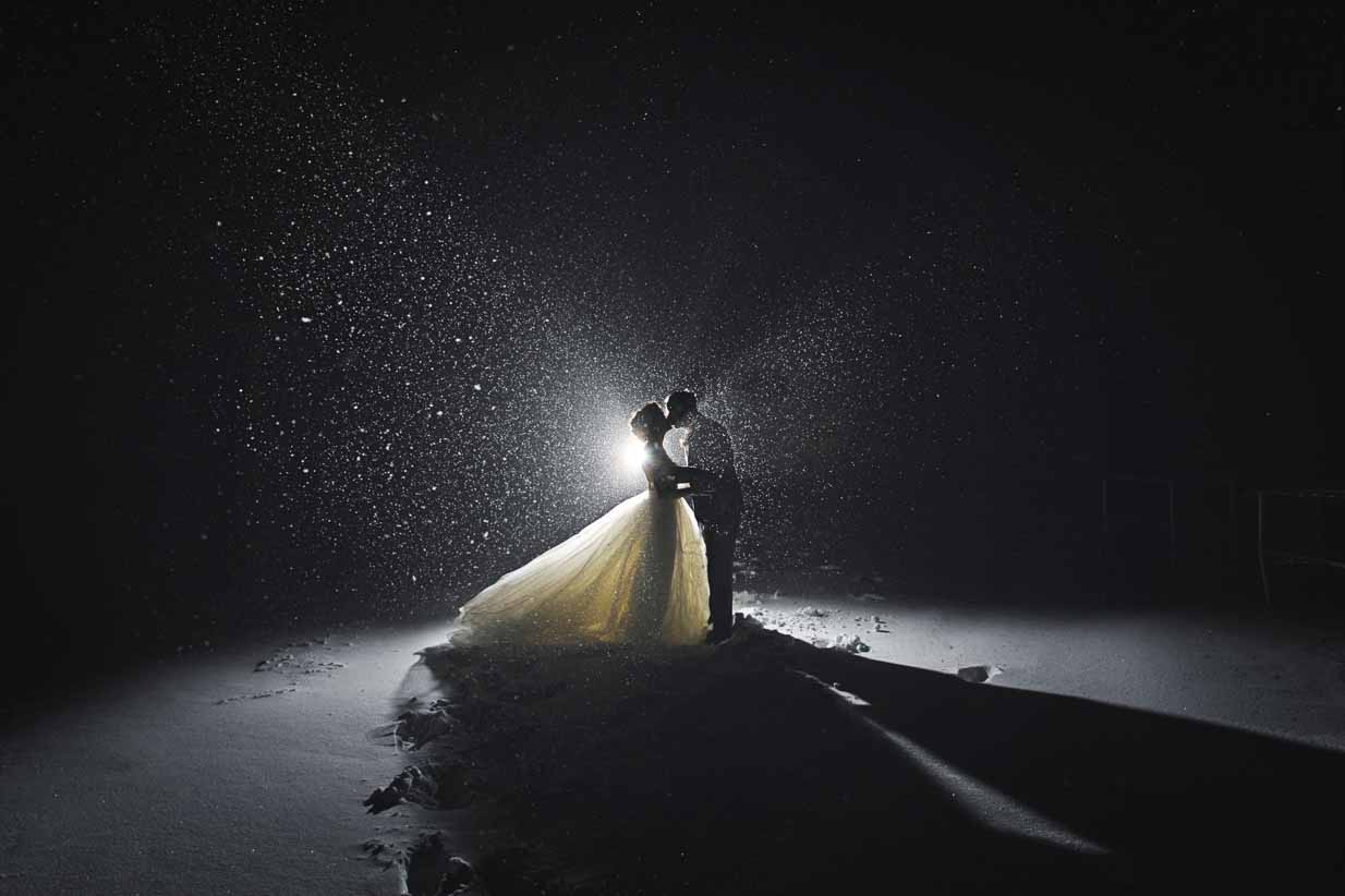 Bride and Groom in a Blizzard | Destination Wedding Photographer | SLIVER Photography