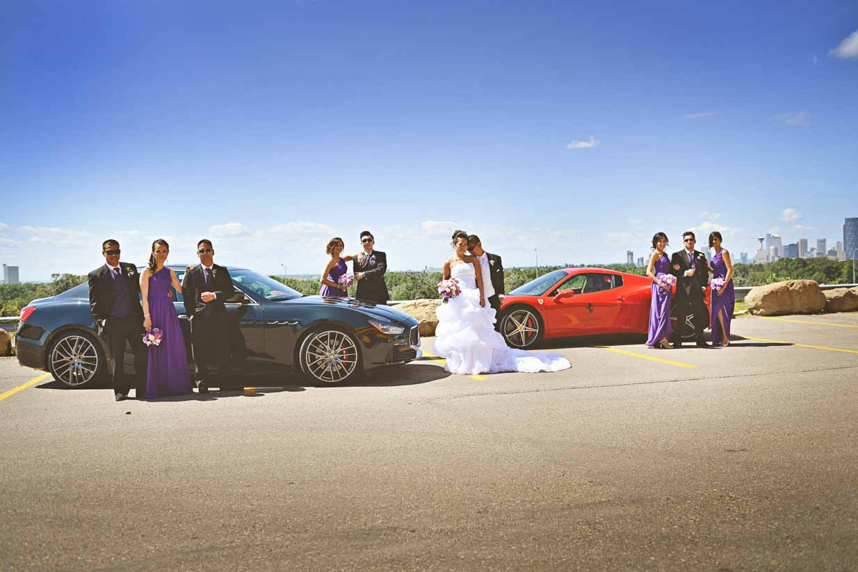 Maserati and Ferrari Bridal Party | Destination Wedding Photographer | SLIVER Photography