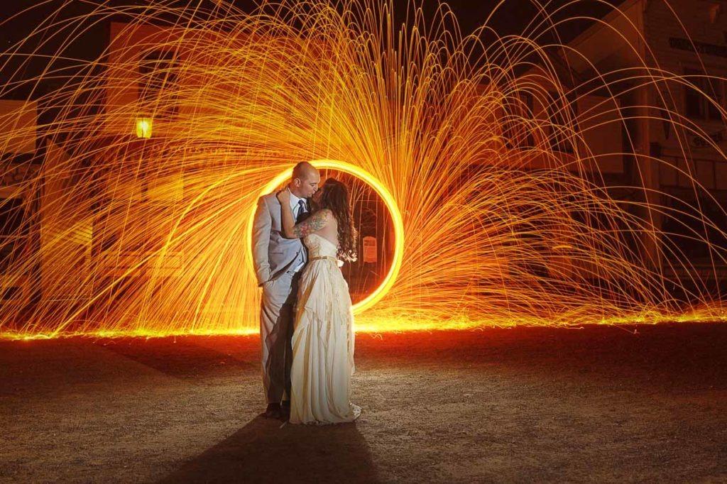 Fire Wheel Kiss   Destination Wedding Photographer   SLIVER Photography