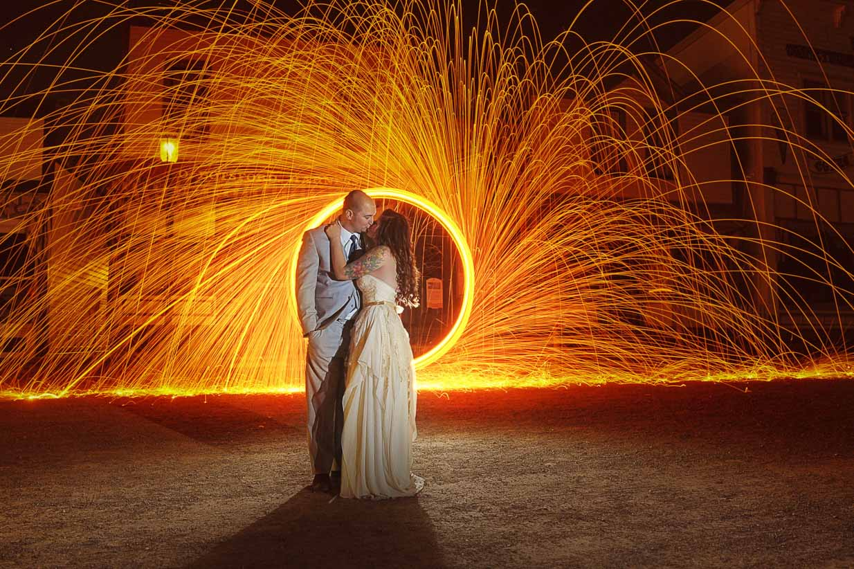 Fire Wheel Kiss | Destination Wedding Photographer | SLIVER Photography
