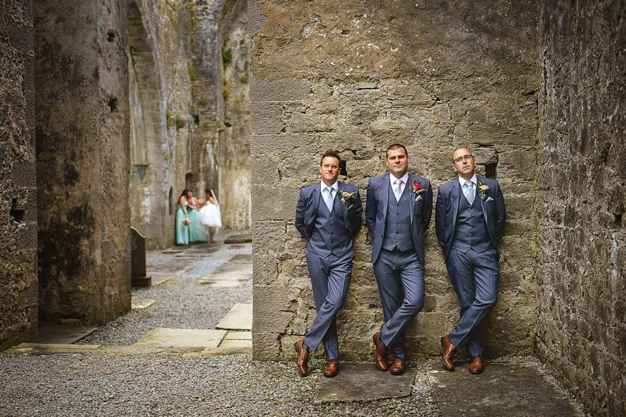 Groomsment in Abbey | Destination Wedding Photographer | SLIVER Photography