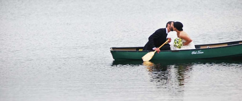 Kananaskis Canoe Bride and Groom   Destination Wedding Photographer   SLIVER Photography