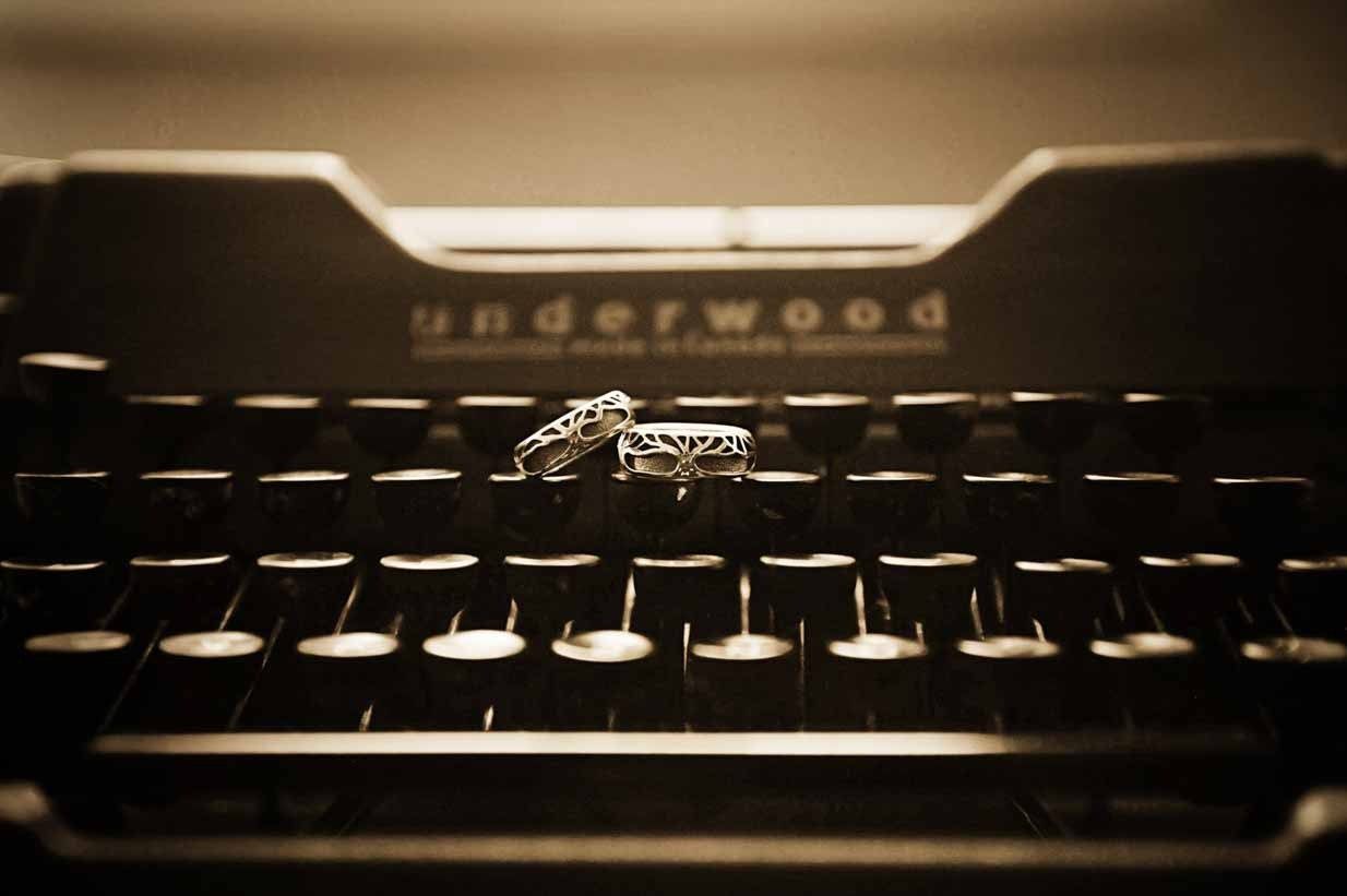 Rings on Typewriter | Destination Wedding Photographer | SLIVER Photography