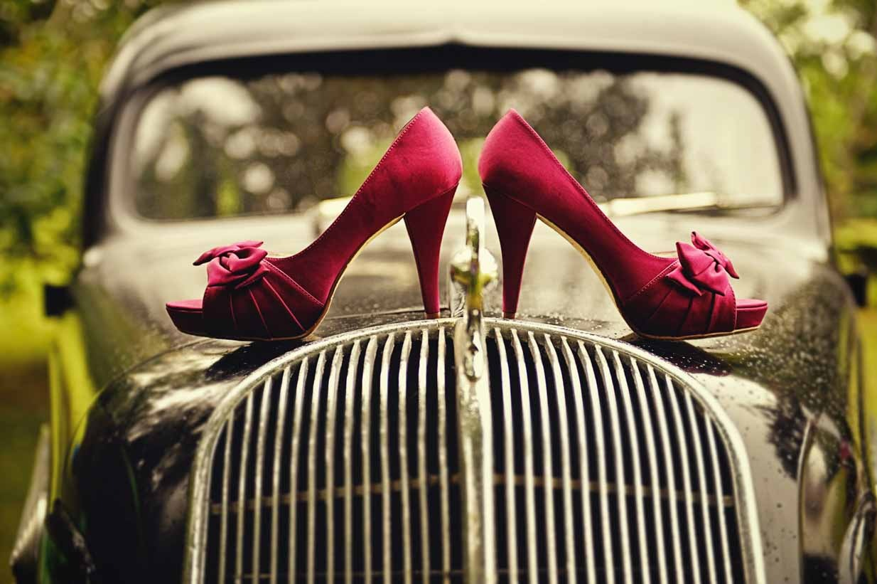 Shoes on Vintage Car | Destination Wedding Photographer | SLIVER Photography