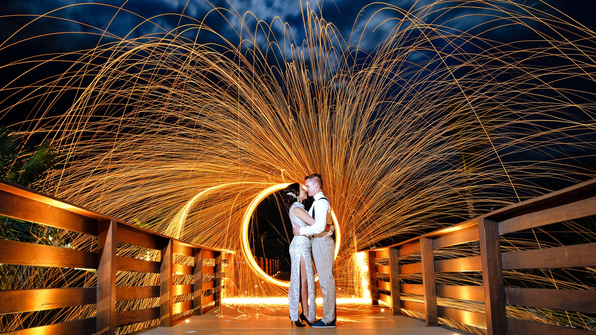 Mexico Wedding Photographer | SLIVER Photography | Fire Wheel